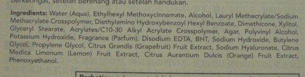daftar ingredient Biore UV Aqua Rich